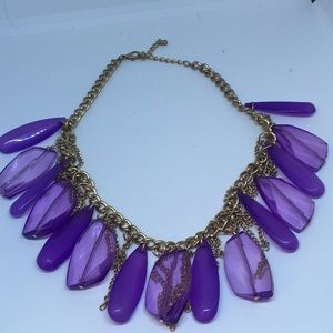 Jewelry - Goldtone and Purple statement necklace!